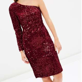 Bordeaux Sequin Dress One Shoulder Dazzling Size 10