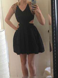 Black cutout dress with Rose Gold studs