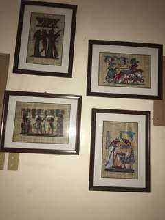 Real papyrus image with frame (4 pcs)