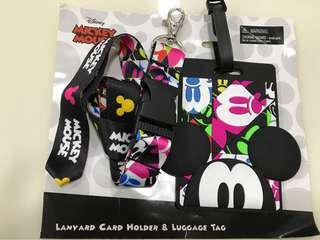 FREE SHIPPING🔥AUTHENTIC🔥MICKEY MOUSE DISNEY LANYARD CARD HOLDER & LUGGAGE TAG ORIGINAL