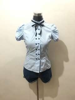 Blue Korean Blouse Small