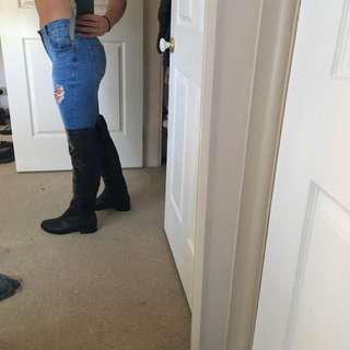 Knee High Black Boots Size 9