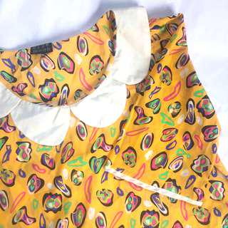Cute Collared Yellow Printed Blouse