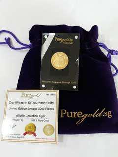 Pure Gold 5g Tiger gold bar