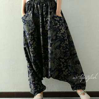 [[ inStock ]] Navy Blue (W) Floral Pattern Trousers