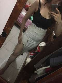 2 pcs brukt top dan Slit Skirt long