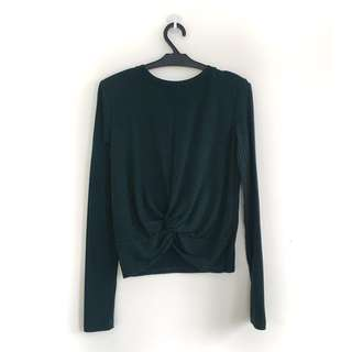 Bershka Long sleeve Top (Forest Green) - Stetchable Fitting