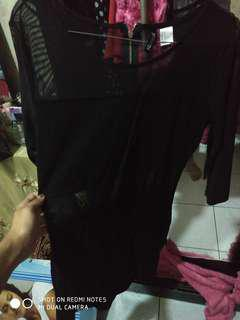 Dress hitam pinggang transparan