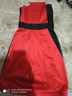 Dress kemben merah hitan