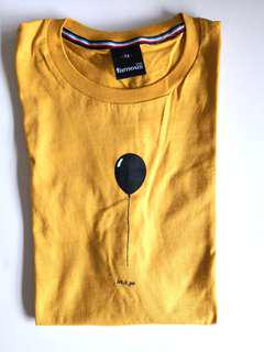 NEW WITHOUT TAG Women's Mustard Yellow Let It Go Black Balloon Print Cotton Short Sleeves T-shirt - in perfect condition