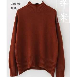 Caramel long sleeve turtle neck sweater
