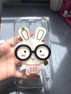可愛卡通兔子鏡子鏡面照鏡Samsung note2 case手機殼透明少女心硬殼