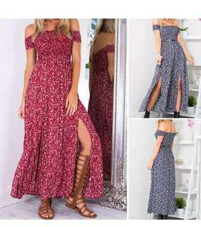 Women Floral Off Shoulders Maxi Dress
