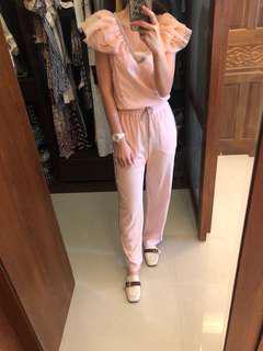 全新義大利ATOS 蕾絲粉色連身褲