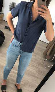 Button front crop blouse