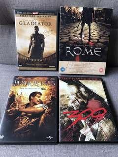 The Gladiators 系列 HBO ROME(Season 1), GLADIATOR, 戰狠300, IMMORTALS movie DVD