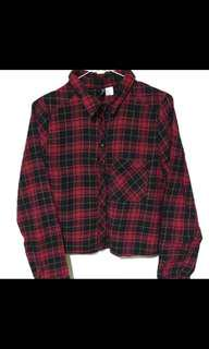 🚚 轉售H&M 歐美街頭短版紅格上衣 格子襯衫
