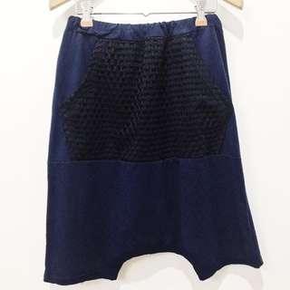 Premium cotton harem shorts with web guipure detail