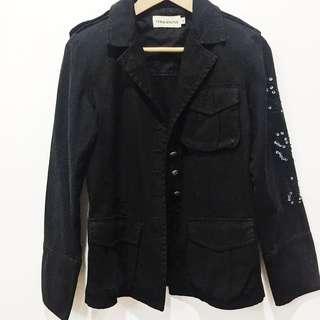 Terranova black army blazer w/ Sequin sleeve detail