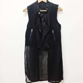 Combined chiffon long waistcoat vest