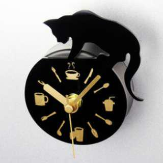Fridge Clock - Black Cat