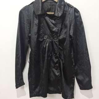 Black trench coat style parka