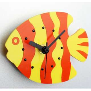 Fridge Clock - Yellow Stripes Fish