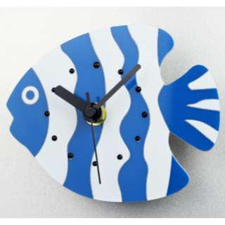 Fridge Clock - Blue Stripes Fish