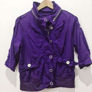 Purple zip up parka with hoodie option