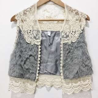 Gray furry vest w/ intricate lace detail
