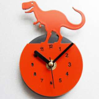 Fridge Clock - Red Dinosaur