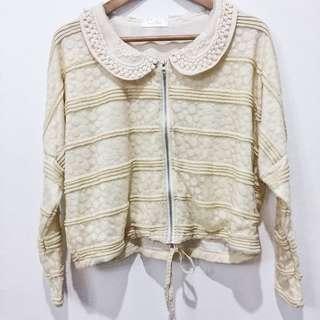 Cream embroidered zip up cardigan