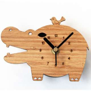 Fridge Clock - Wooden Hippo