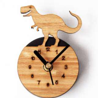 Fridge Clock - Wooden Dinosaur