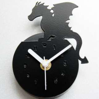 Fridge Clock - Black Flying Dragon