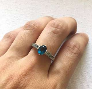 Authentic Sapphire and Cubic Zirconia Ring