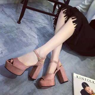 wedges dusty pink