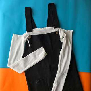 White off shoulder bardot top + black overalls pinafore dress