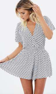 Kimono Sleve Playsuit in White and Black