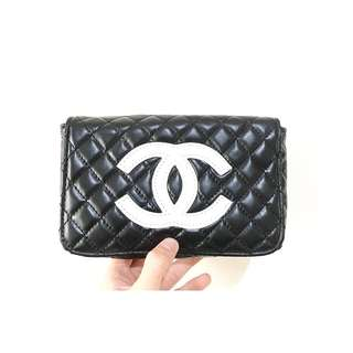 Chanel authentic waist bag quilted white logo vip gift