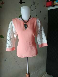 Blouse brokat periwinkle orange