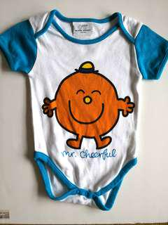 NEW WITHOUT TAGS | MOTHERCARE MR. MEN LITTLE MISS Blue & Orange Cute Mr Cheerful Baby Boy's Onesie / Romper - in perfect condition