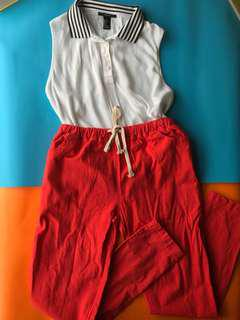 Collared sleeveless top + red joggers BUNDLE
