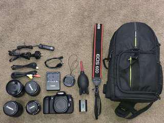 Canon 60D Kit + 3 Different Lenses