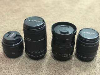 Canon lenses (can be bought separately)