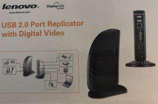 Lenovo USB 2.0 Port Replicator with Digital Vodeo