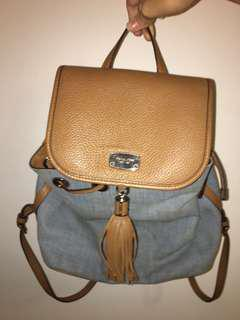 Micheal Kors Authentic Denim Leather Backpack