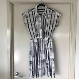 Vintage B&W Printed Dress