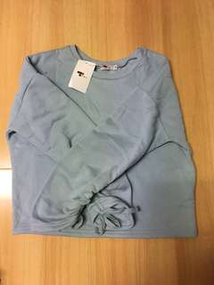 Temt blue cropped jumper with scrunched sleeve