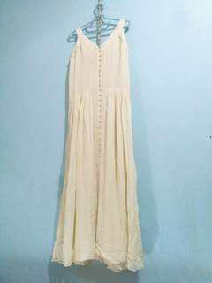 Long dress gaun pesta h&m boho putih vintage